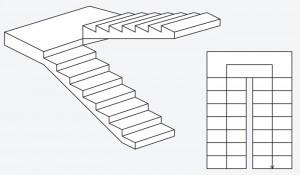 U formos mediniai laiptai su aikštele