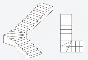 L formos mediniai laiptai be aikštelės