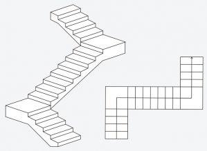 Dvigubi L formos mediniai laiptai